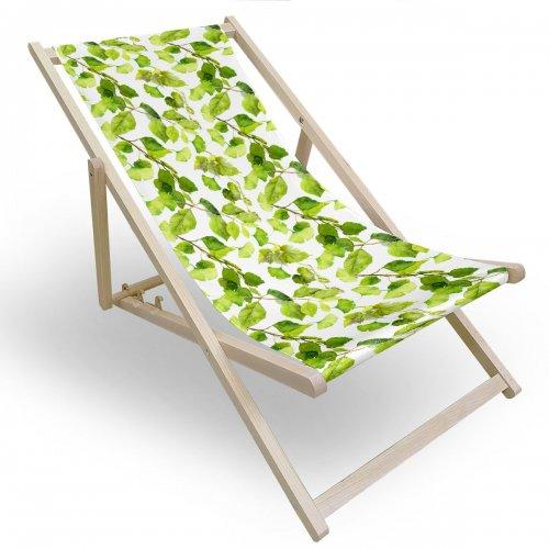Leżak drewniany do ogrodu lub na plażę 599 434-119-01 liście drzew