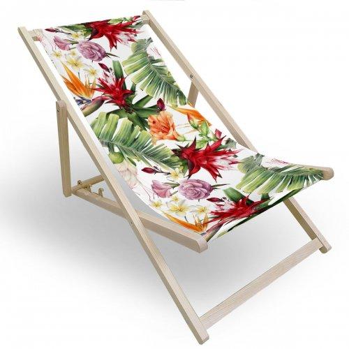 Leżak drewniany do ogrodu lub na plażę 599 434-134-01 egzotyczny kwiat