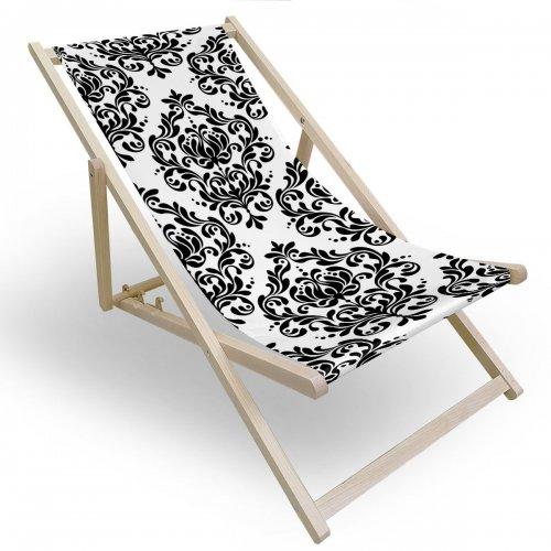 Leżak drewniany do ogrodu lub na plażę 599 434-143-01 barokowy ornament
