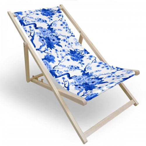 Leżak drewniany do ogrodu lub na plażę 599 434-178-01 niebieskie kwiaty