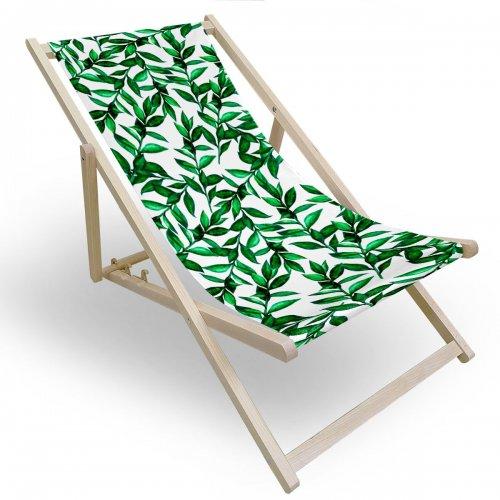 Leżak drewniany do ogrodu lub na plażę 599 434-185-01 zielona gałązka