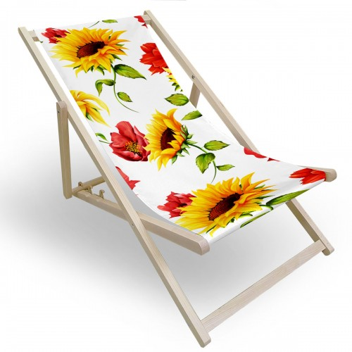 Leżak drewniany do ogrodu lub na plażę 599 434-187-01 słonecznikowy raj