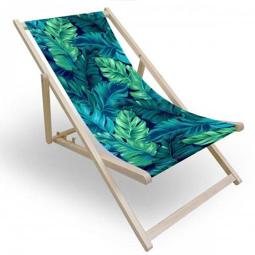 Leżak drewniany do ogrodu lub na plażę 599 434-219-01 zielone liście
