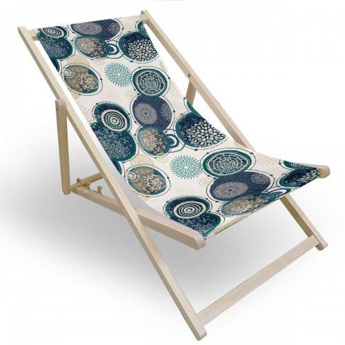 Leżak drewniany do ogrodu lub na plażę 599 434-232-01 kolorowe okręgi