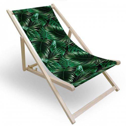 Leżak drewniany do ogrodu lub na plażę 599 434-256-01 liście palmowe