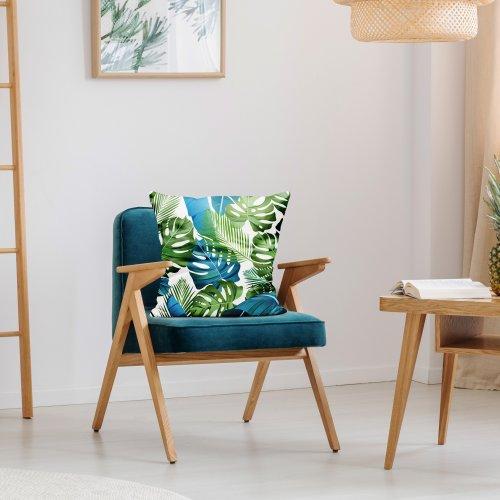 Poszewka dekoracyjna drukowana D404-151-01 niebieskie liście monstery