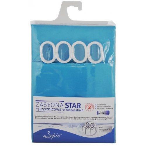 Zasłona prysznicowa z zaczepami 180x200cm niebieska