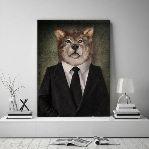 Obraz na płótnie CANVAS 60x80 B177 Człowiek z głową wilka