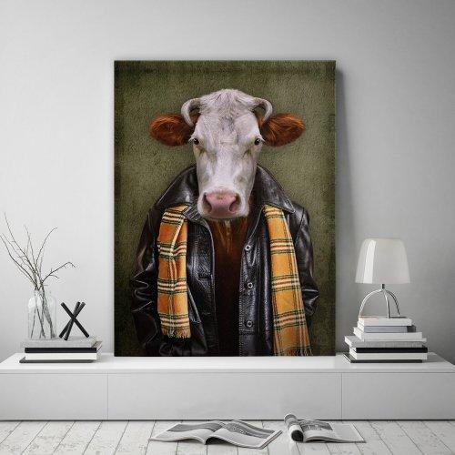 Obraz na płótnie CANVAS 60x80 B178 Człowiek z głową krowy