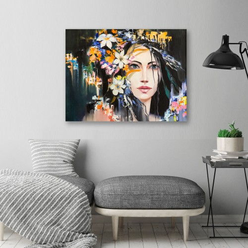 Obraz na płótnie CANVAS 80x60 C116 Kobieta z wiankiem