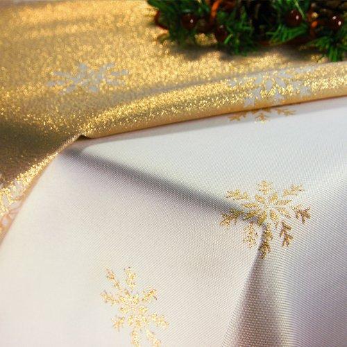 Obrus Świąteczny CHRISTMAS SNOWFLAKE 459-63wp biały złoty