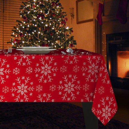 Obrus Świąteczny MERRY CHRISTMAS 298-12 czerwony srebrny