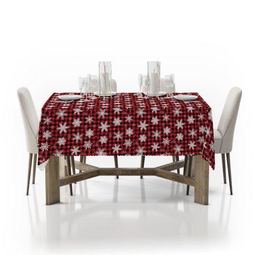 Obrus świąteczny na stół D549-773-01wp śnieżynki w kracie