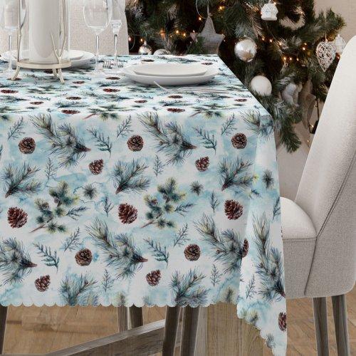 Obrus świąteczny na stół D549-775-01wp szyszki sosenki
