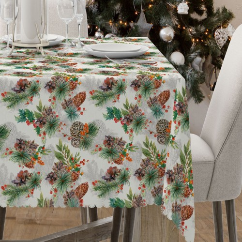 Obrus świąteczny na stół D549-777-01wp stroik świąteczny