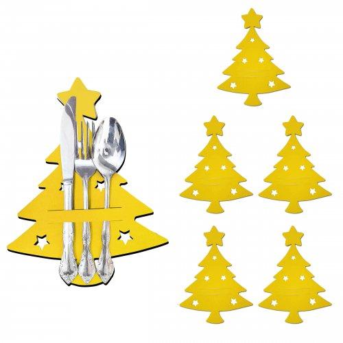ŚWIĄTECZNE ETUI NA SZTUĆCE CHOINKA 784-05 żółte