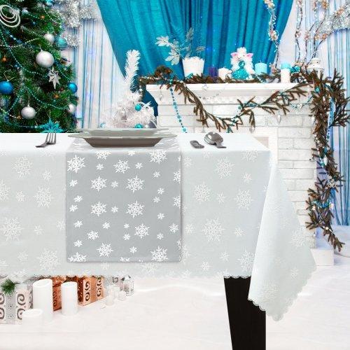 Bieżnik Świąteczny na stół ŚNIEŻYNKA Boże Narodzenie 914-01-01 biały