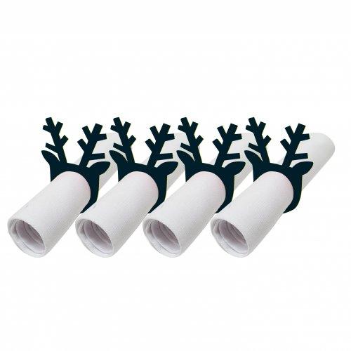 Pierścienie - obrączki na serwetki z filcu 4szt 792-34-02 Rogi czarne