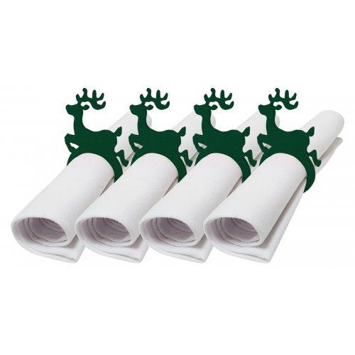 Pierścienie - obrączki na serwetki z filcu 4szt 792-26-01 Renifer zieleń butelkowa