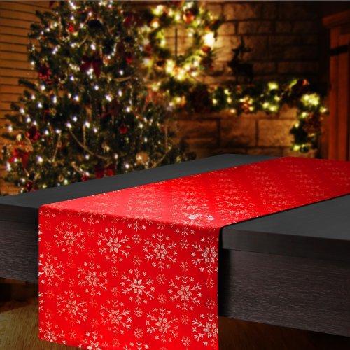 Bieżnik na stół plamoodporny MERRY CHRISTMAS 298-32 czerwony ze srebrną nitką