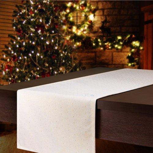 Bieżnik świąteczny CHRISTMAS DROPS 506-63 biały złoty pył i kropka