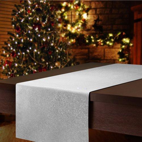 Bieżnik świąteczny CHRISTMAS DROPS 506-32 biały srebrny pył i kropka