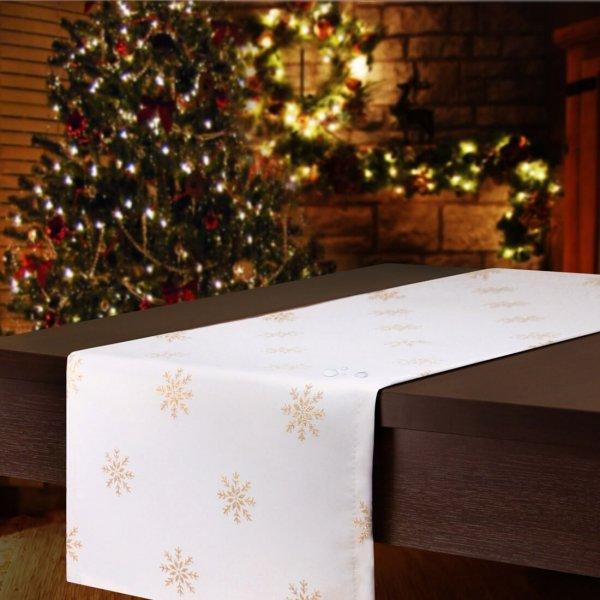 Bieżnik świąteczny CHRISTMAS SNOWFLAKE 459-63 biały złoty