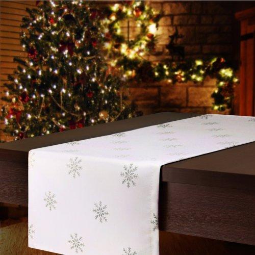 Bieżnik świąteczny CHRISTMAS SNOWFLAKE 459-32 biały srebrny