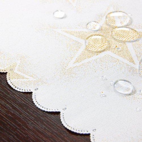 Bieżnik świąteczny CHRISTMAS STAR GOLD 457-63wp biały złoty