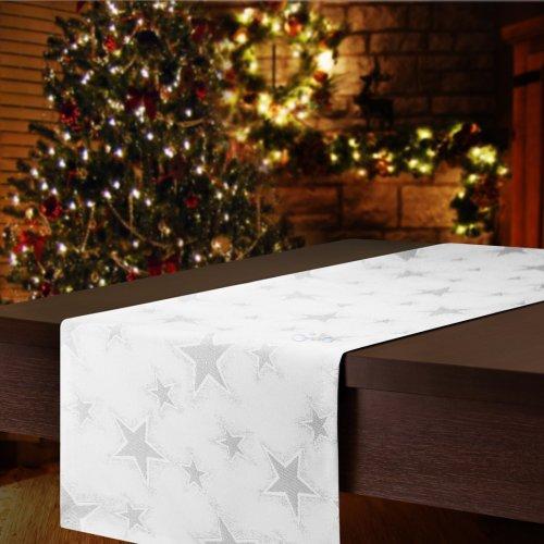 Bieżnik świąteczny CHRISTMAS STAR SILVER 457-32 biały srebrny