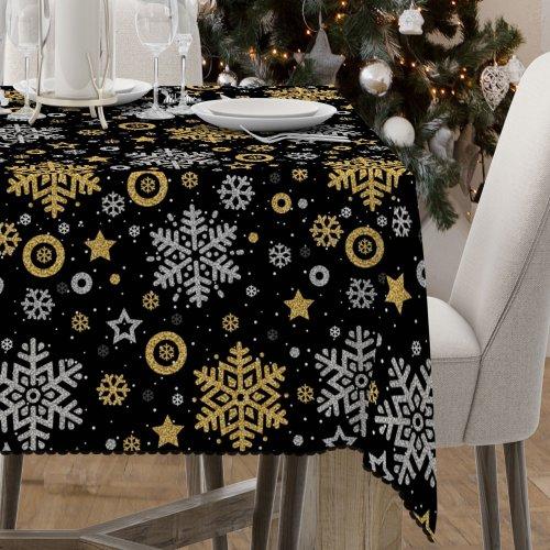 Obrus świąteczny na stół D549-771-01wp śnieżynki