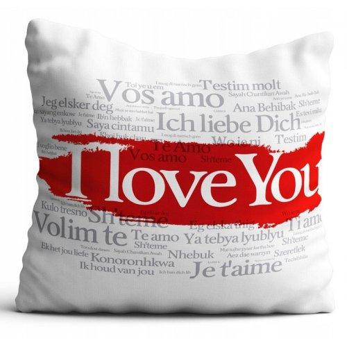 Poszewka na poduszkę WALENTYNKI 40x40 W100 I Love You