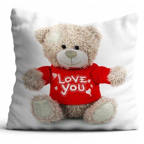 Poszewka na poduszkę WALENTYNKI 40x40 W103 Miś I Love You