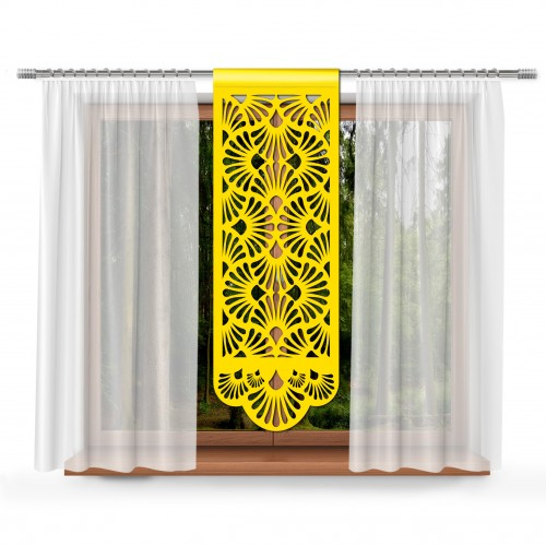 Firana Panel ażurowy na okno 48x140 żółty