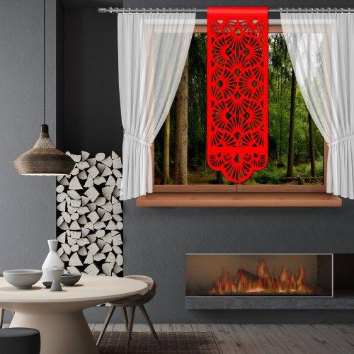 Firana Panel ażurowy na okno 48x140 850-12 czerwony