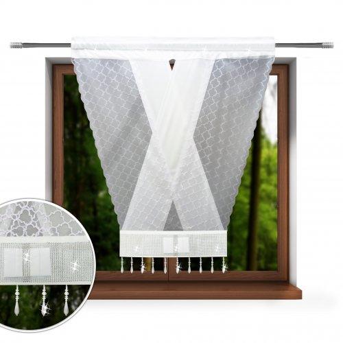 Firana panelowa marokańska koniczyna do salonu 120x130 V-ka z cyrkoniami 848-01