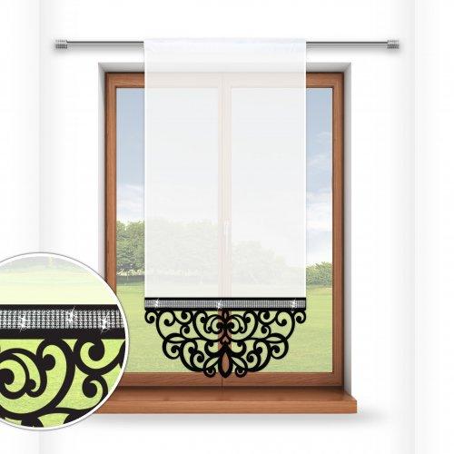Firana panelowa do salonu z ażurem i cyrkoniami 797-34 czarny