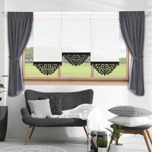 Firana panelowa do salonu z ażurem 797-34 w3 czarny