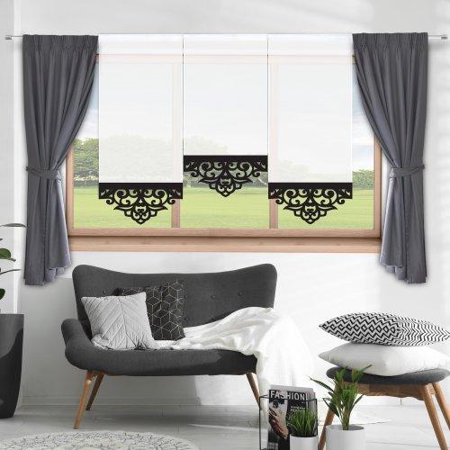 Firana panelowa do salonu z ażurem 797-34 w4 czarny