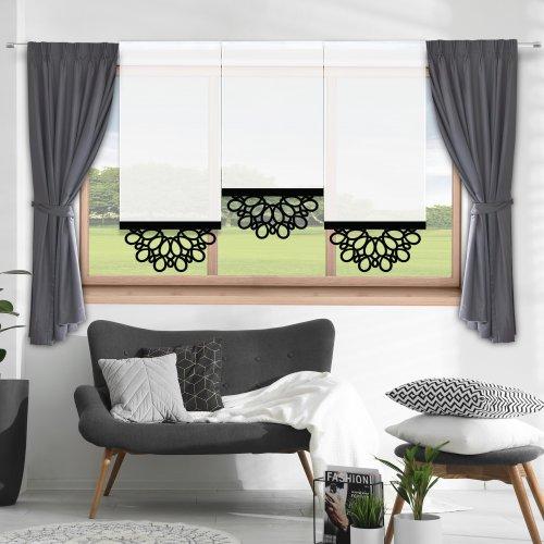 Firana panelowa do salonu z ażurem 797-34 w6 czarny