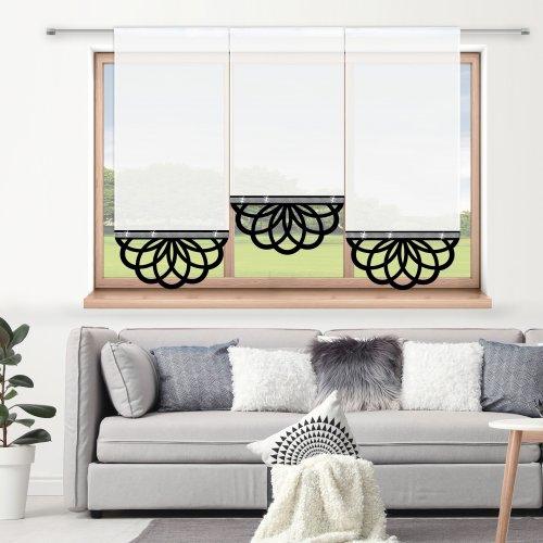 Firana panelowa do salonu z ażurem i cyrkoniami 797-34 w7 czarny