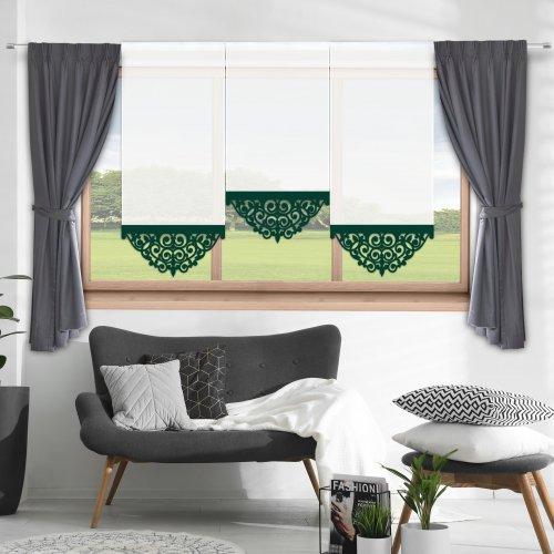 Firana panelowa do salonu z ażurem 797-26 w3 zieleń butelkowa