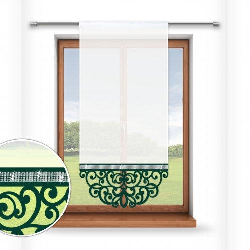 Firana panelowa do salonu z ażurem i cyrkoniami 797-26 w1 zieleń butelkowa