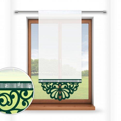 Firana panelowa do salonu z ażurem i cyrkoniami 797-26 w2 zieleń butelkowa