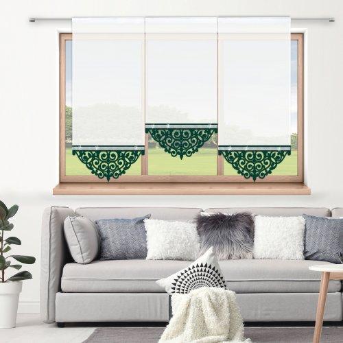Firana panelowa do salonu z ażurem i cyrkoniami 797-26 w3 zieleń butelkowa
