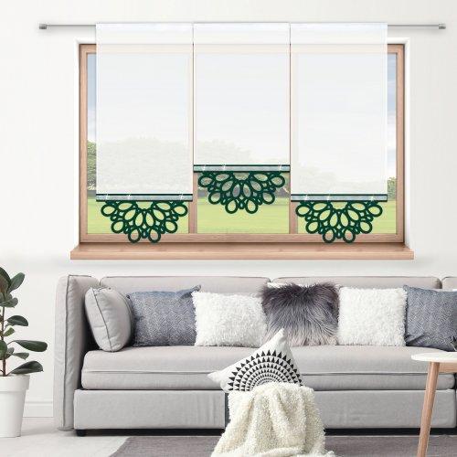 Firana panelowa do salonu z ażurem i cyrkoniami 797-26 w6 zieleń butelkowa