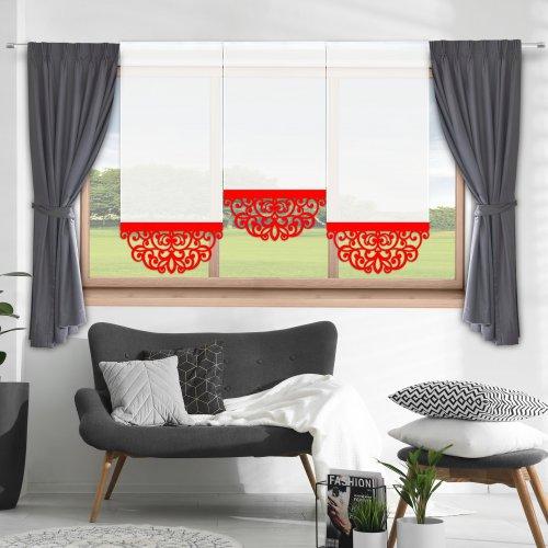 Firana panelowa do salonu z ażurem 797-12 w1 czerwony