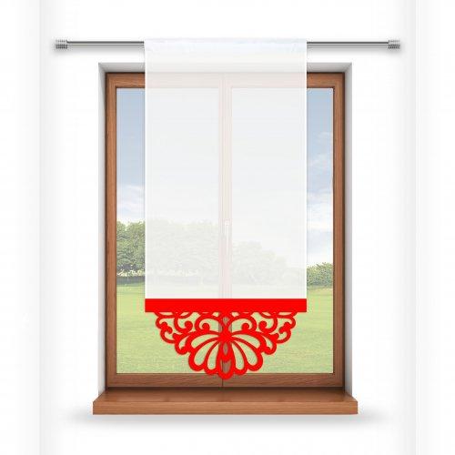 Firana panelowa do salonu z ażurem 797-12 w2 czerwony