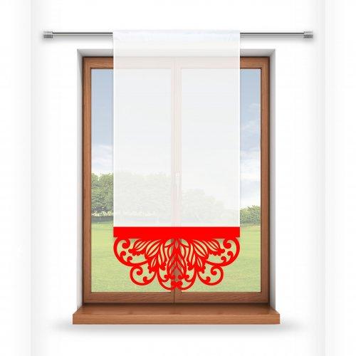 Firana panelowa do salonu z ażurem 797-12 w5 czerwony