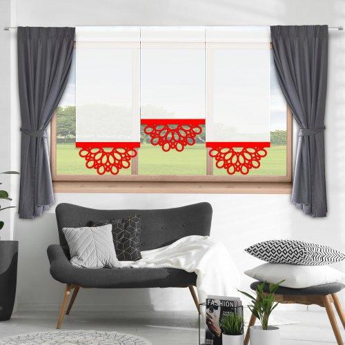 Firana panelowa do salonu z ażurem 797-12 w6 czerwony